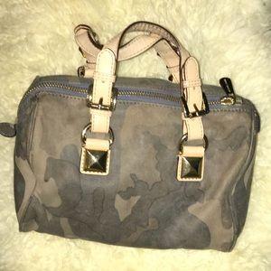 Michael Korse  leather army printed satchel